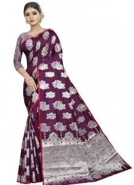 Art Silk Grey and Purple Designer Contemporary Saree For Ceremonial