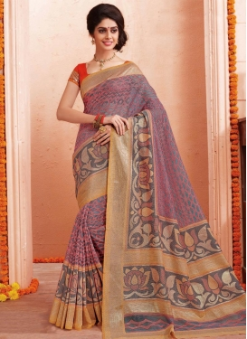 Art Silk Grey and Salmon Trendy Classic Saree