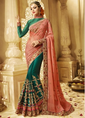 Art Silk Half N Half Designer Saree For Bridal