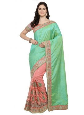 Art Silk Half N Half Saree For Ceremonial