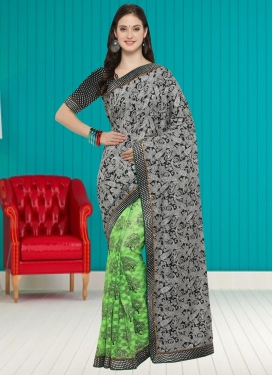 Art Silk Half N Half Trendy Saree For Casual