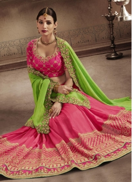Art Silk Hot Pink and Mint Green Embroidered Work Half N Half Trendy Saree