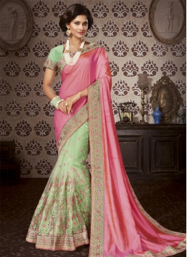 Art Silk Hot Pink and Mint Green Half N Half Saree