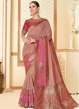 Art Silk Hot Pink and Peach Designer Contemporary Saree For Ceremonial