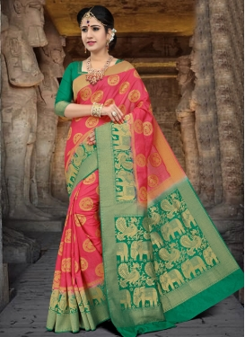 Art Silk Hot Pink and Sea Green Thread Work Trendy Saree