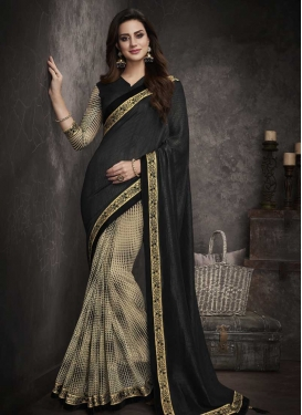 Art Silk Lace Work Beige and Black Half N Half Saree
