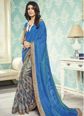 Art Silk Lace Work Beige and Blue Half N Half Trendy Saree