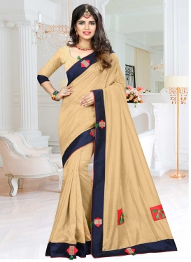Art Silk Lace Work Beige and Navy Blue Traditional Saree
