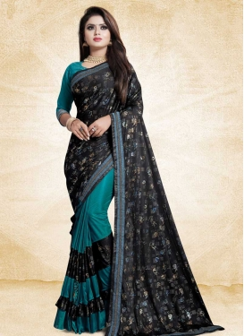 Art Silk Lace Work Black and Teal Half N Half Trendy Saree