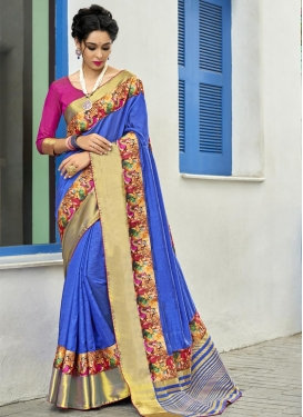 Art Silk Lace Work Contemporary Saree