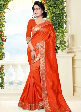 Art Silk Lace Work Contemporary Style Saree
