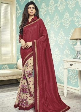 Art Silk Lace Work Cream and Crimson Designer Half N Half Saree