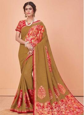 Art Silk Lace Work Designer Contemporary Style Saree