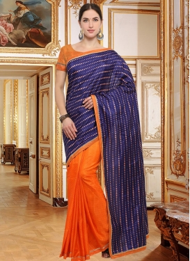 Art Silk Lace Work Designer Half N Half Saree