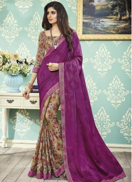 Art Silk Lace Work Designer Half N Half Saree