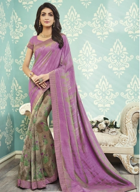 Art Silk Lace Work Half N Half Designer Saree