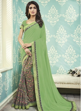 Art Silk Lace Work Half N Half Trendy Saree