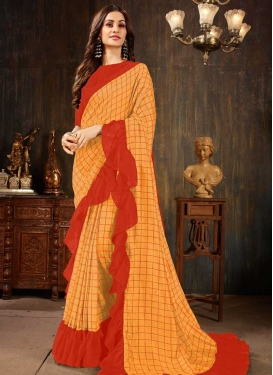 Art Silk Lace Work Mustard and Tomato Traditional Designer Saree