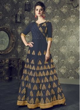 Art Silk Lace Work Readymade Long Length Gown