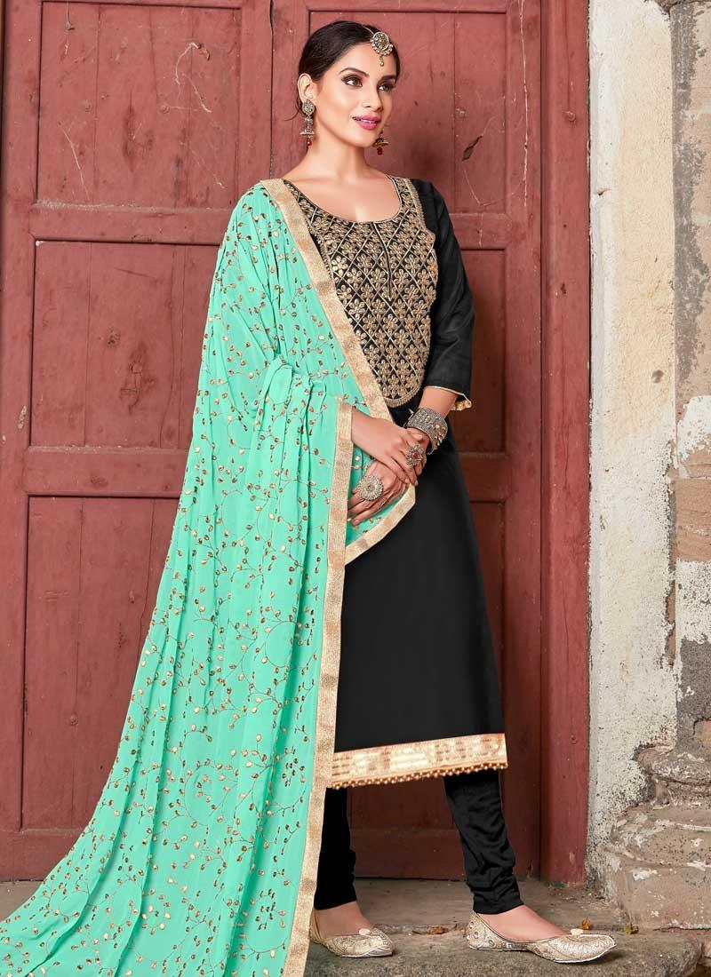 Art Silk Lace Work Trendy Churidar Salwar Kameez
