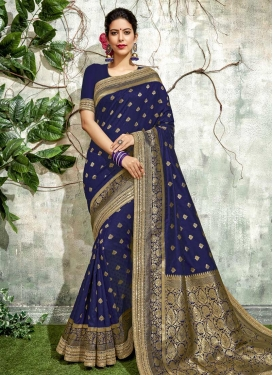 Art Silk Lace Work Trendy Saree