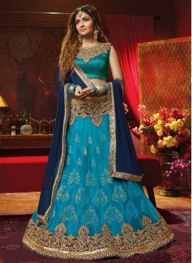 Art Silk Light Blue and Navy Blue A Line Lehenga Choli