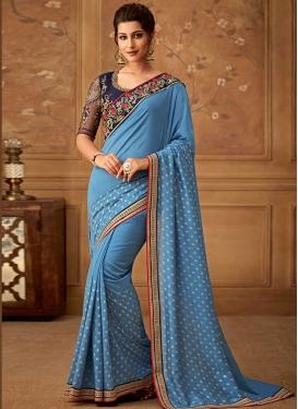 Art Silk Light Blue and Navy Blue Classic Saree For Festival