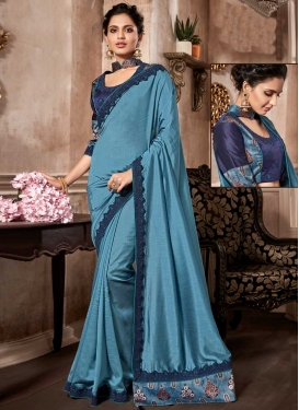 Art Silk Light Blue and Navy Blue Designer Contemporary Style Saree