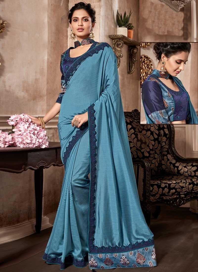 Art Silk Light Blue and Navy Blue Designer Contemporary Style Saree