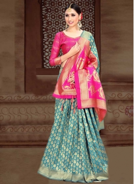 Art Silk Light Blue and Rose Pink Designer Traditional Saree