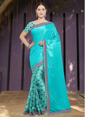 Art Silk Light Blue and Turquoise Half N Half Saree For Ceremonial