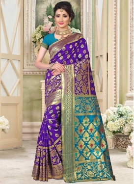 Art Silk Light Blue and Violet Thread Work Classic Saree