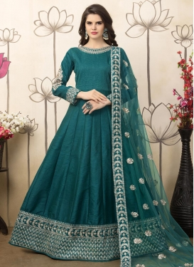 Art Silk Long Length Anarkali Suit For Festival