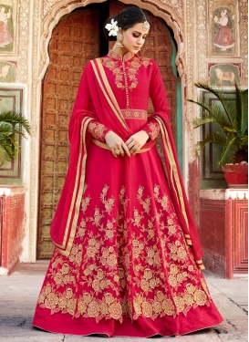 Art Silk Long Length Designer Anarkali Suit