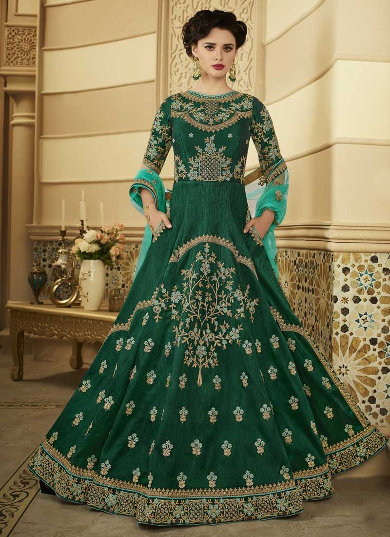 Art Silk Long Length Designer Anarkali Suit For Festival