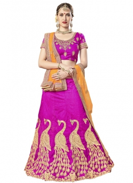 Art Silk Magenta and Mustard Designer Lehenga Choli