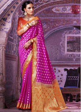 Art Silk Magenta and Orange Thread Work Contemporary Style Saree