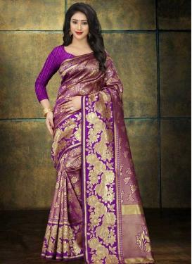 Art Silk Magenta and Violet Thread Work Designer Contemporary Style Saree