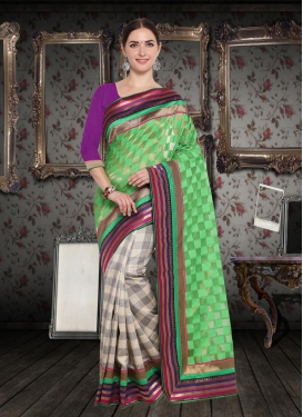 Art Silk Mint Green and Off White Half N Half Saree