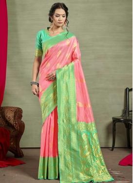 Art Silk Mint Green and Pink Trendy Classic Saree