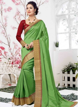 Art Silk Mint Green and Red Designer Contemporary Saree For Festival