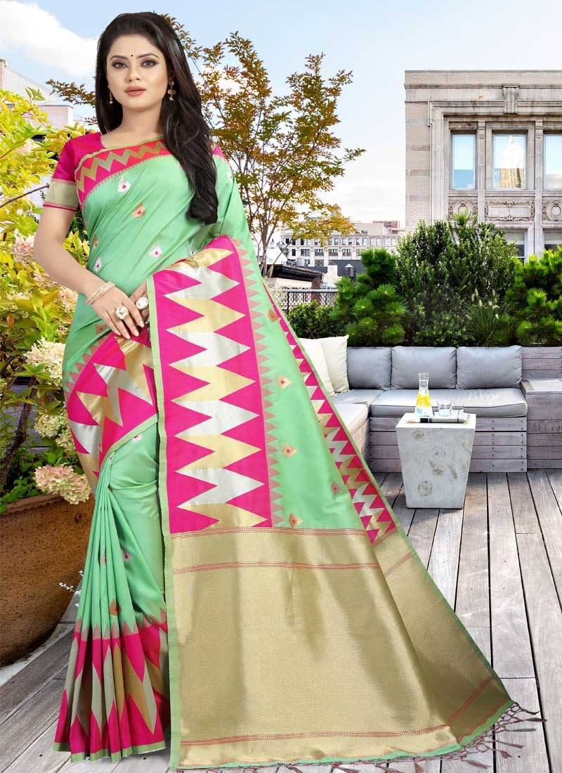 Art Silk Mint Green and Rose Pink Designer Traditional Saree For Ceremonial