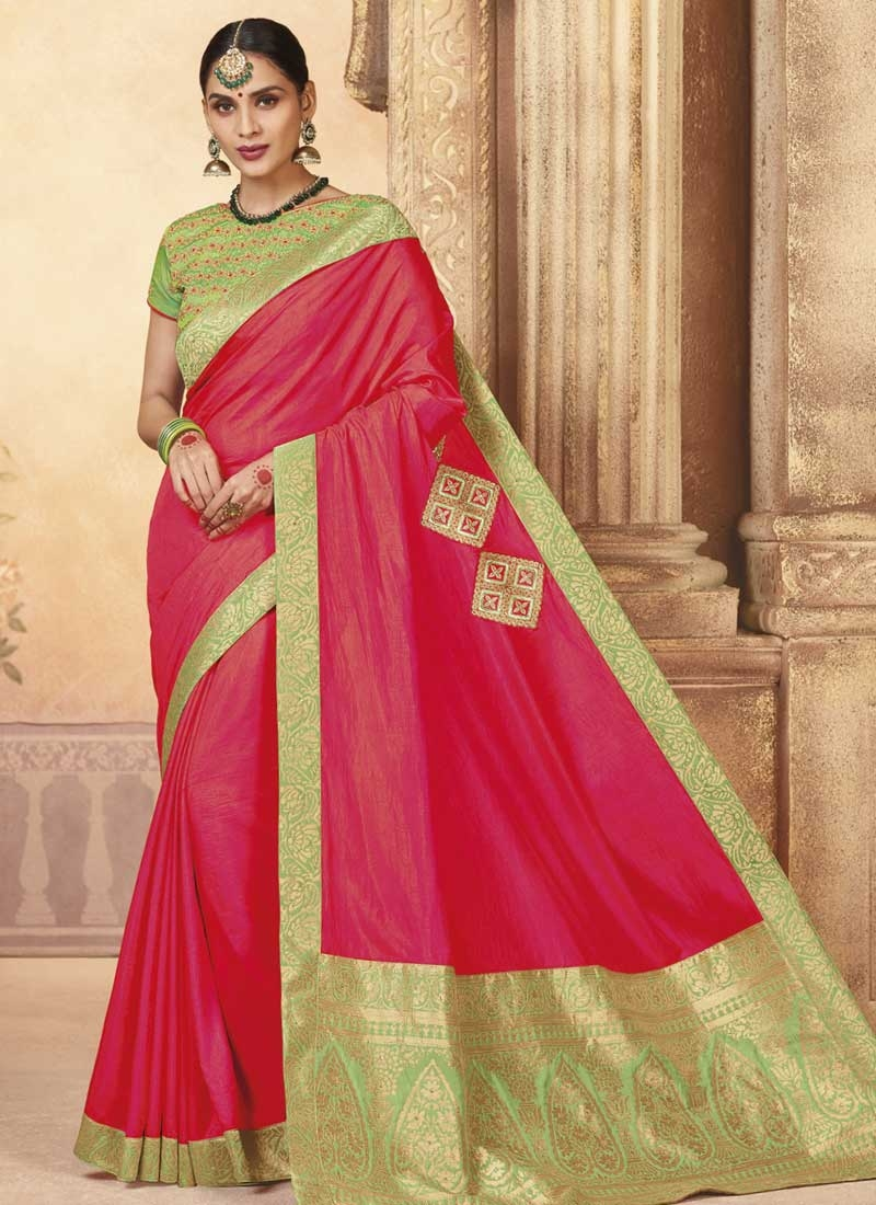 Art Silk Mint Green and Rose Pink Embroidered Work Traditional Saree