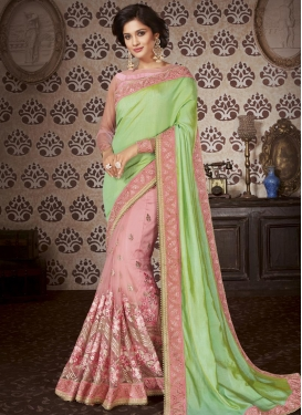 Art Silk Mint Green and Salmon Beads Work Designer Half N Half Saree