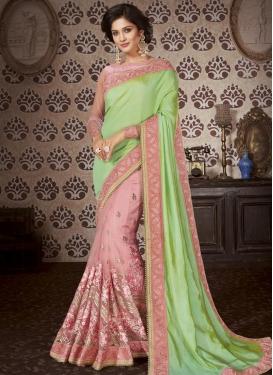 Art Silk Mint Green and Salmon Beads Work Designer Half N Half Saree