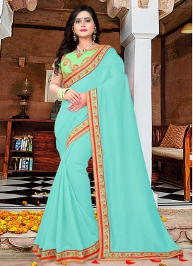 Art Silk Mint Green and Turquoise Contemporary Style Saree