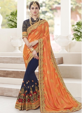 Art Silk Navy Blue and Orange Beads Work Half N Half Designer Saree