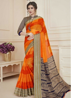 Art Silk Navy Blue and Orange Trendy Classic Saree For Casual