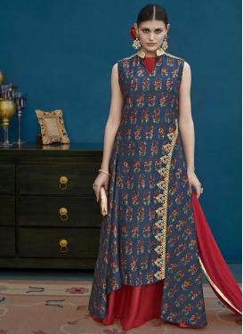 Art Silk Navy Blue and Red Digital Print Work Trendy Designer Salwar Kameez