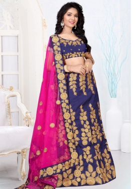 Art Silk Navy Blue and Rose Pink A - Line Lehenga